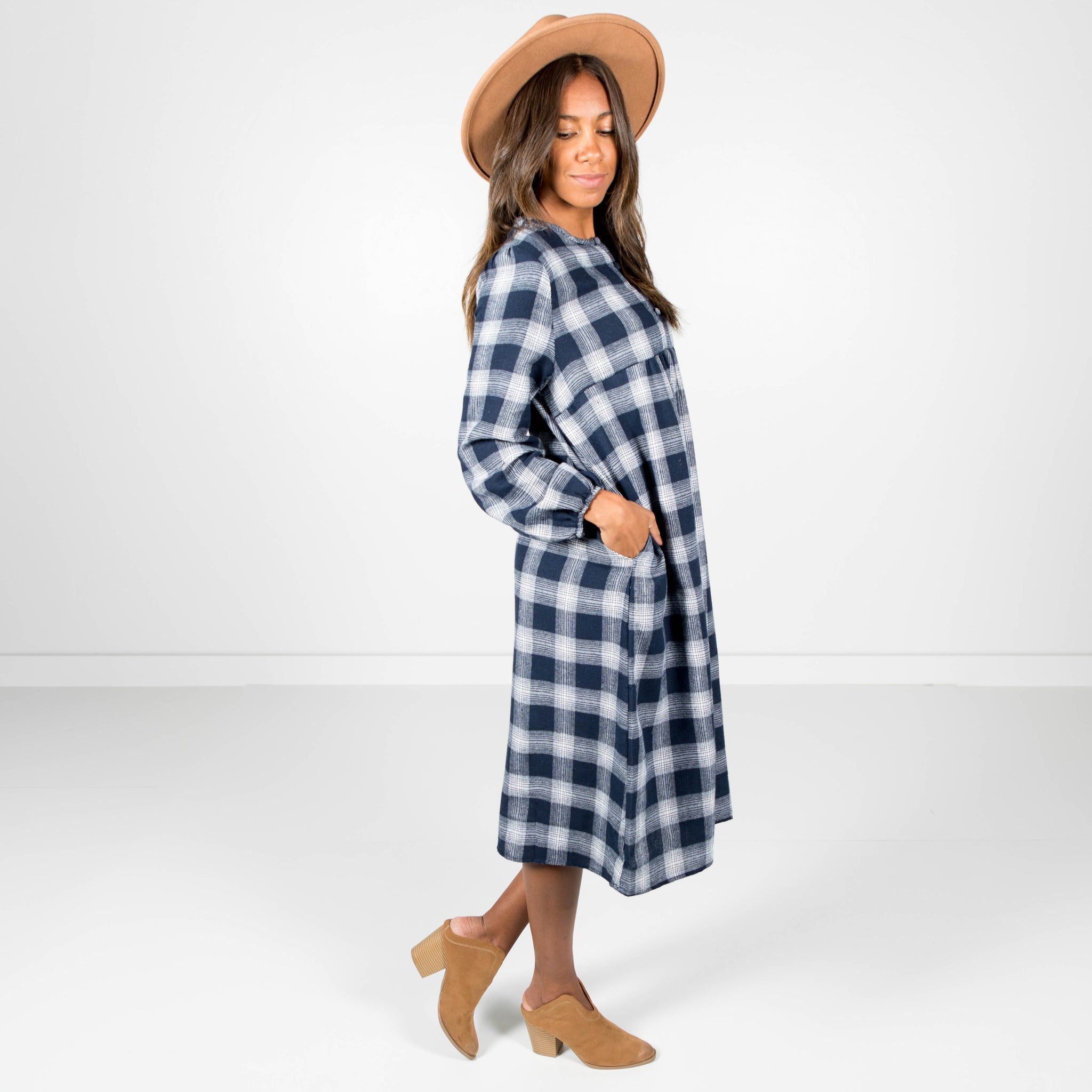 Mason Plaid Dress in Navy