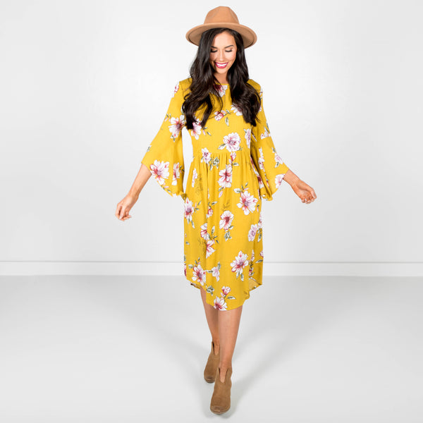 Dara Yellow Floral Dress
