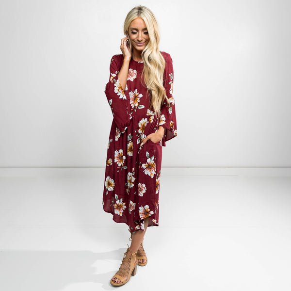 Dara Burgundy Floral Dress