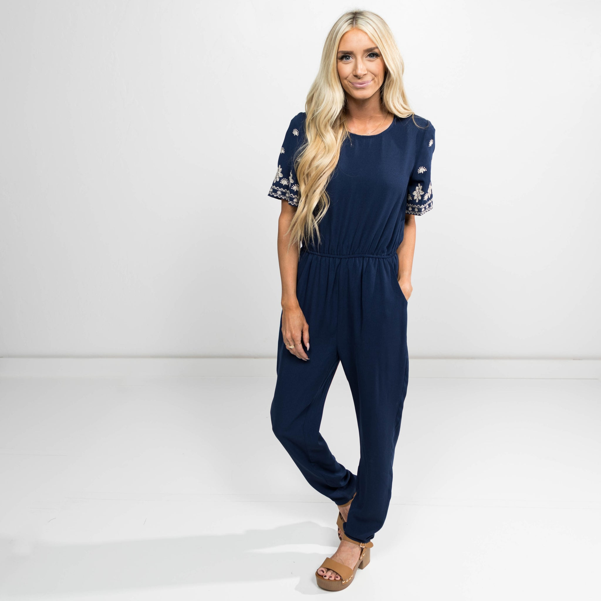Flower Detailed Jumpsuit in Navy