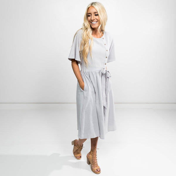 Torryn Button Up Dress in Grey