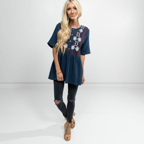 Melanie Embroidered Top in Navy