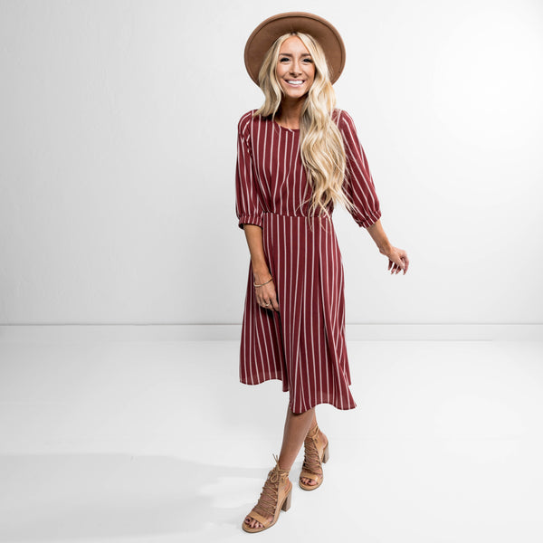 Rose Pleated Dress in Brick