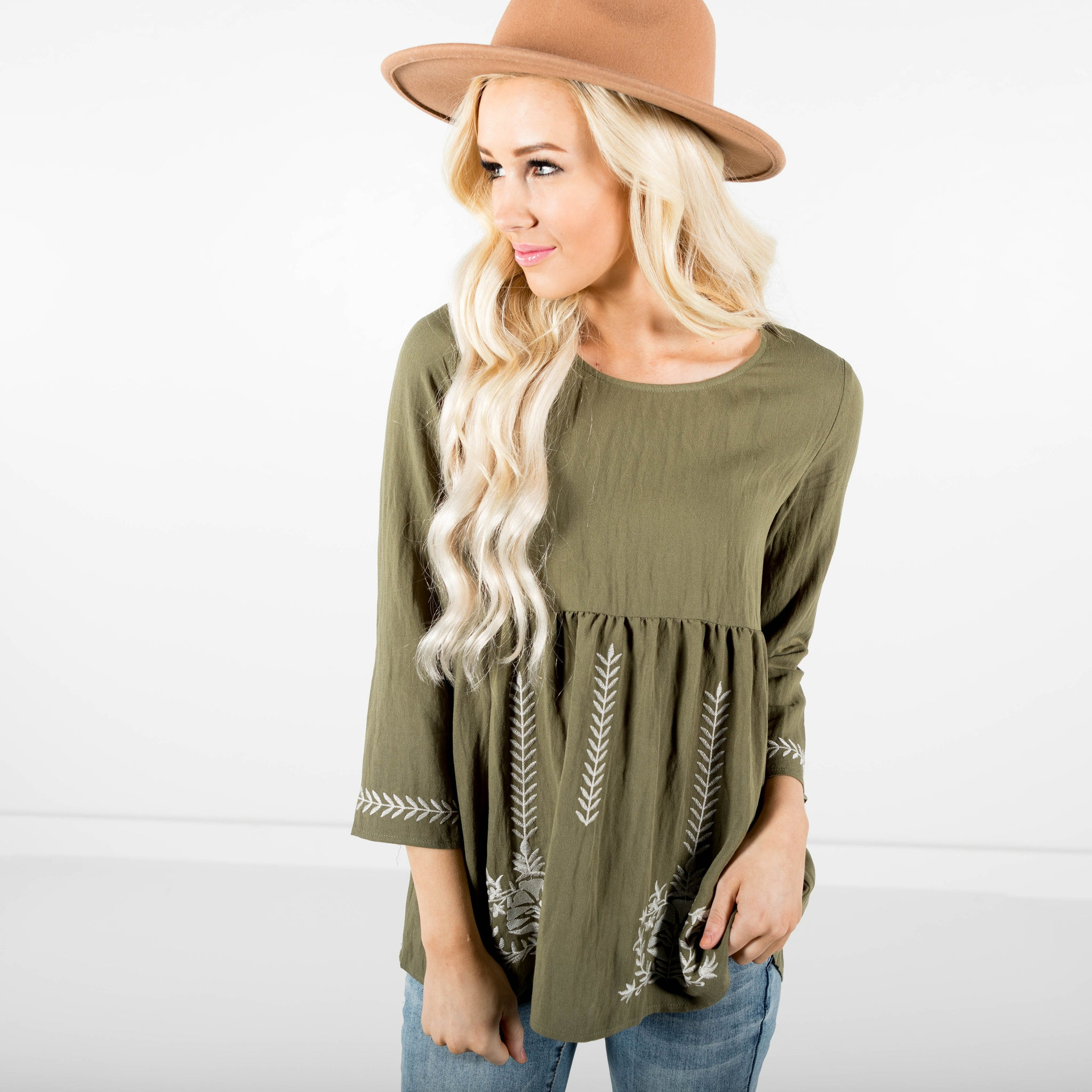 Knox Long Sleeve Top in Olive