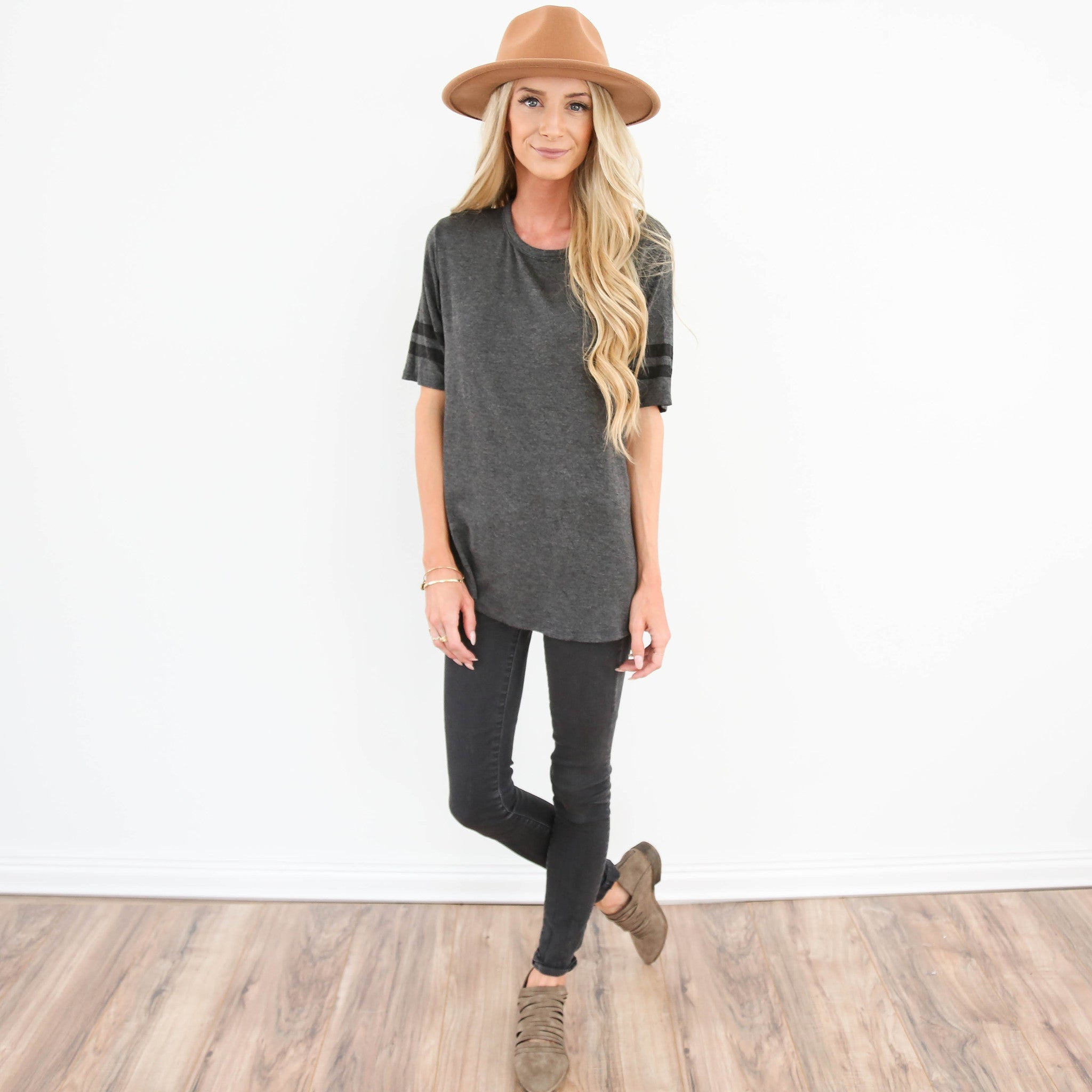 Athletic Stripe Tee in Charcoal