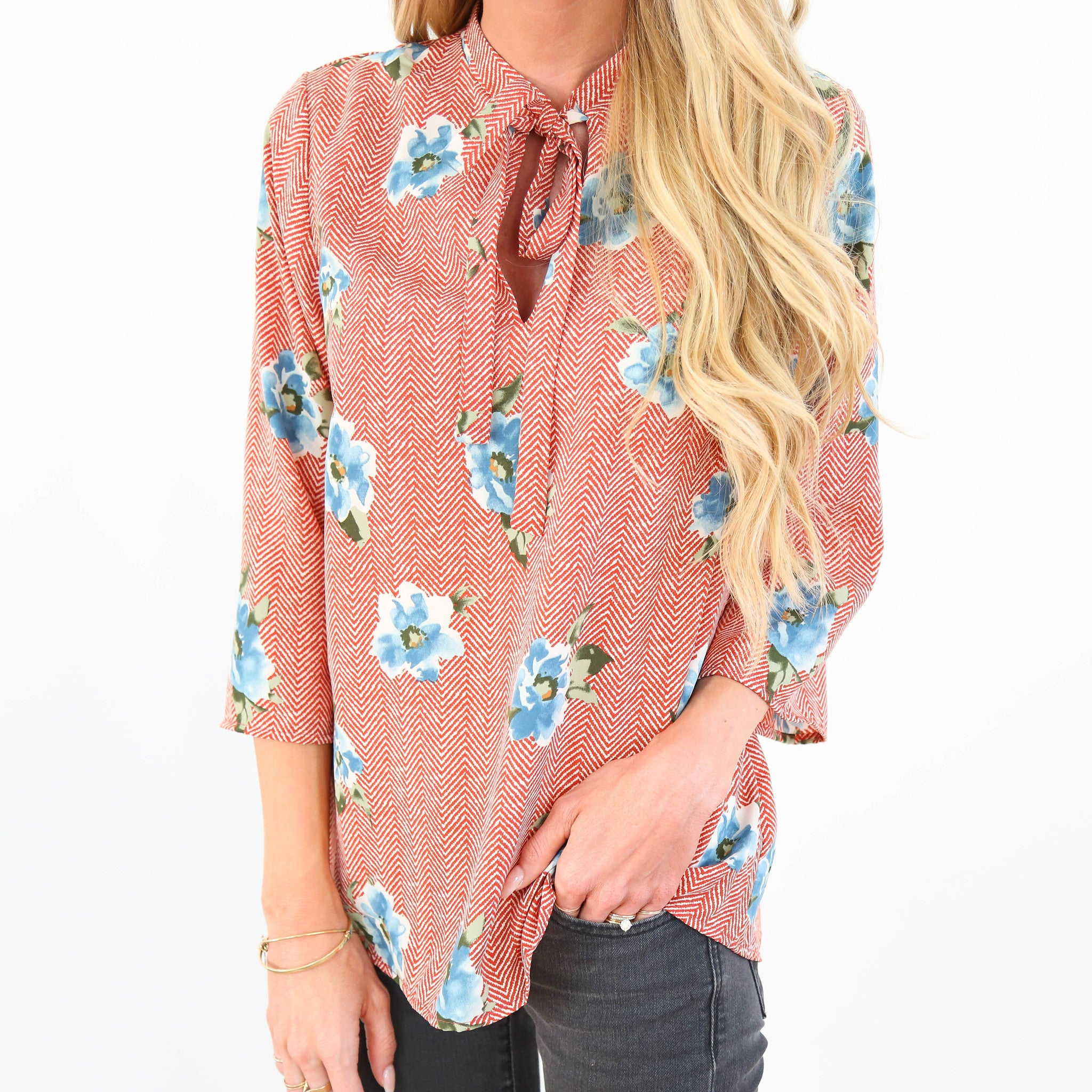 Faye Floral Top in Red Orange