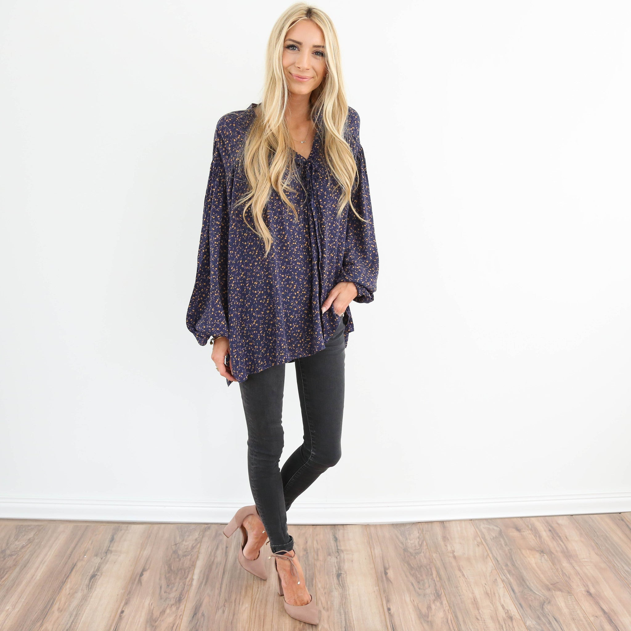 Printed Navy Top