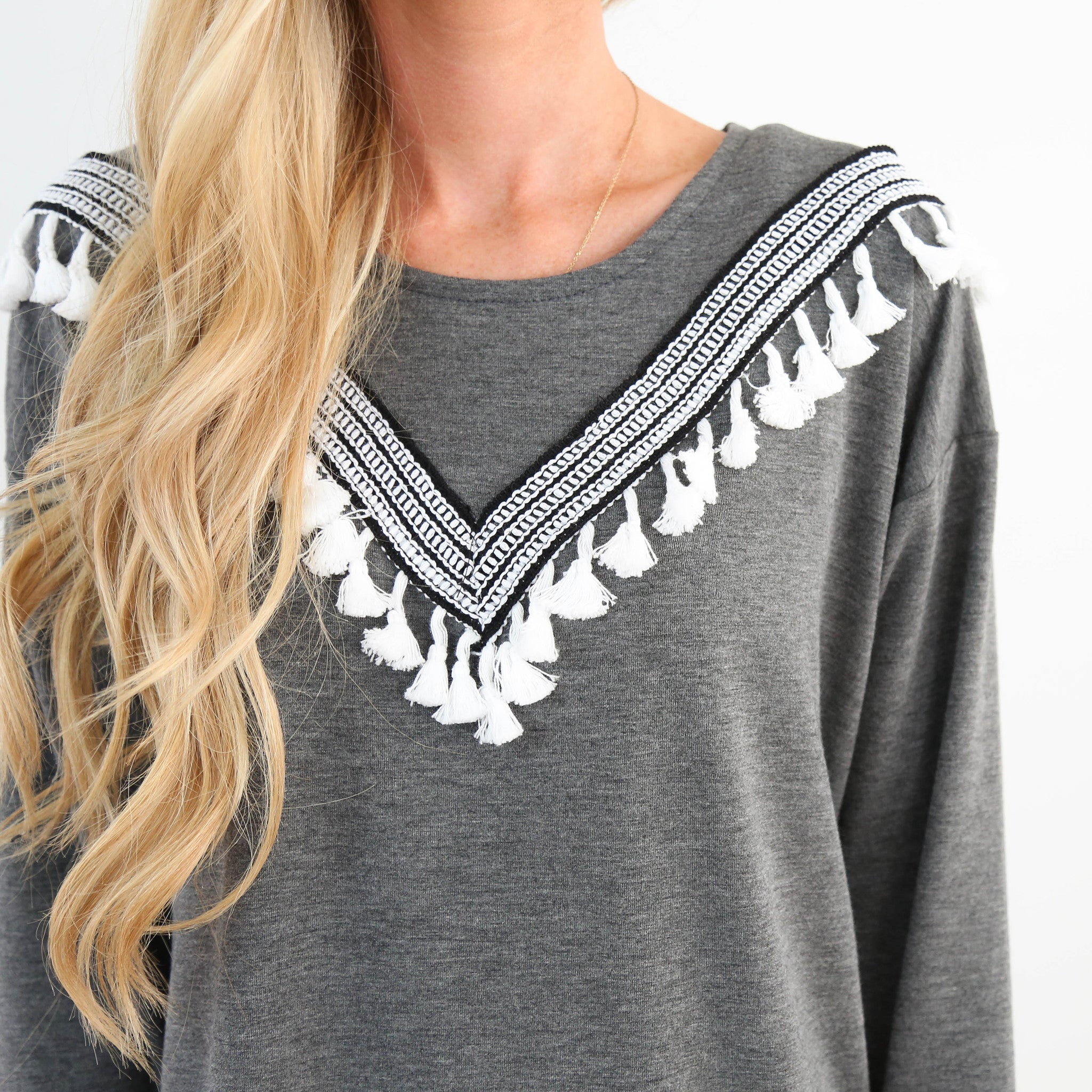 Tayva Embroidered Tassle Top