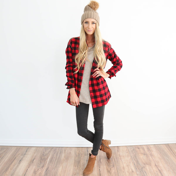 Buffalo Plaid Button Up in Red