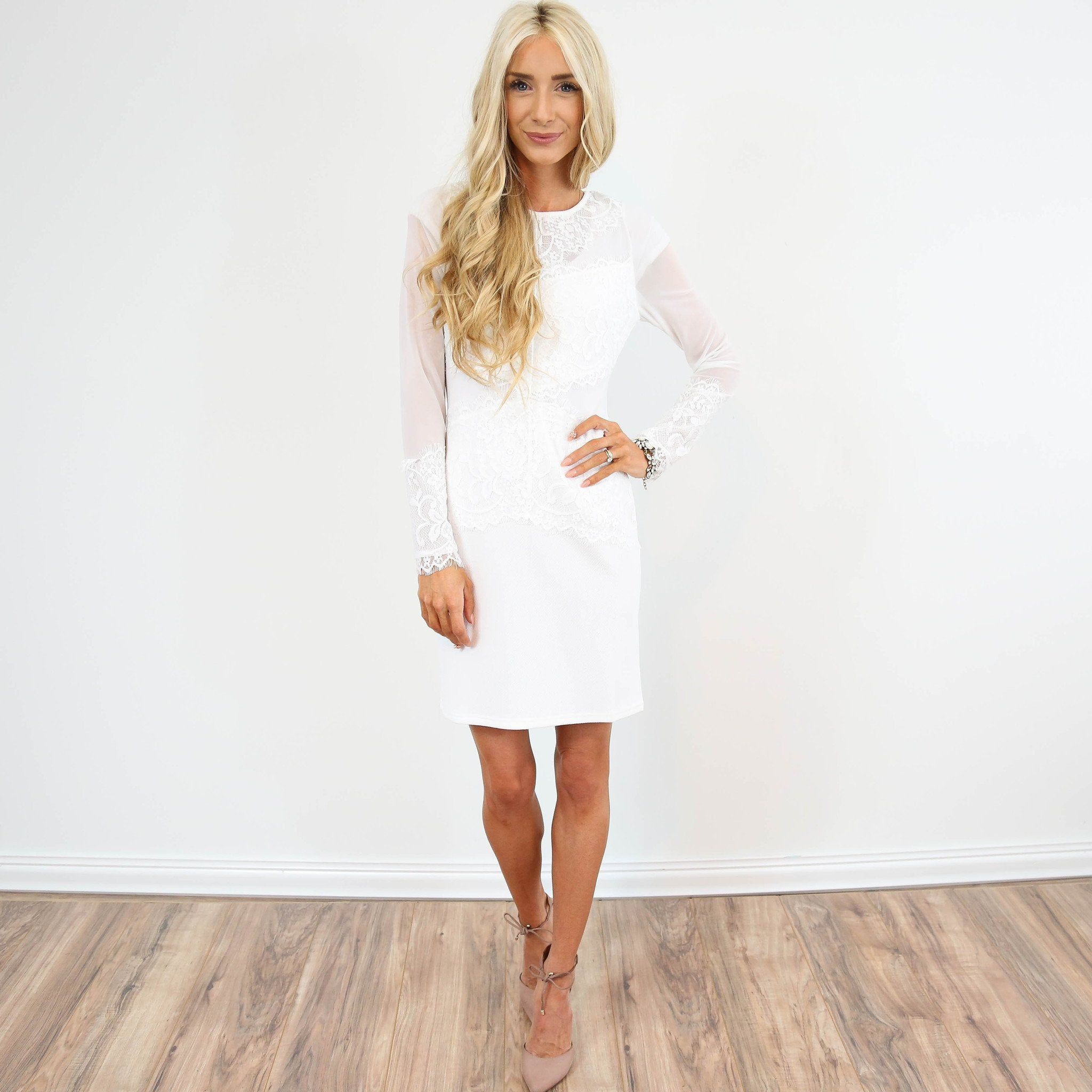 Demi White Lace Dress