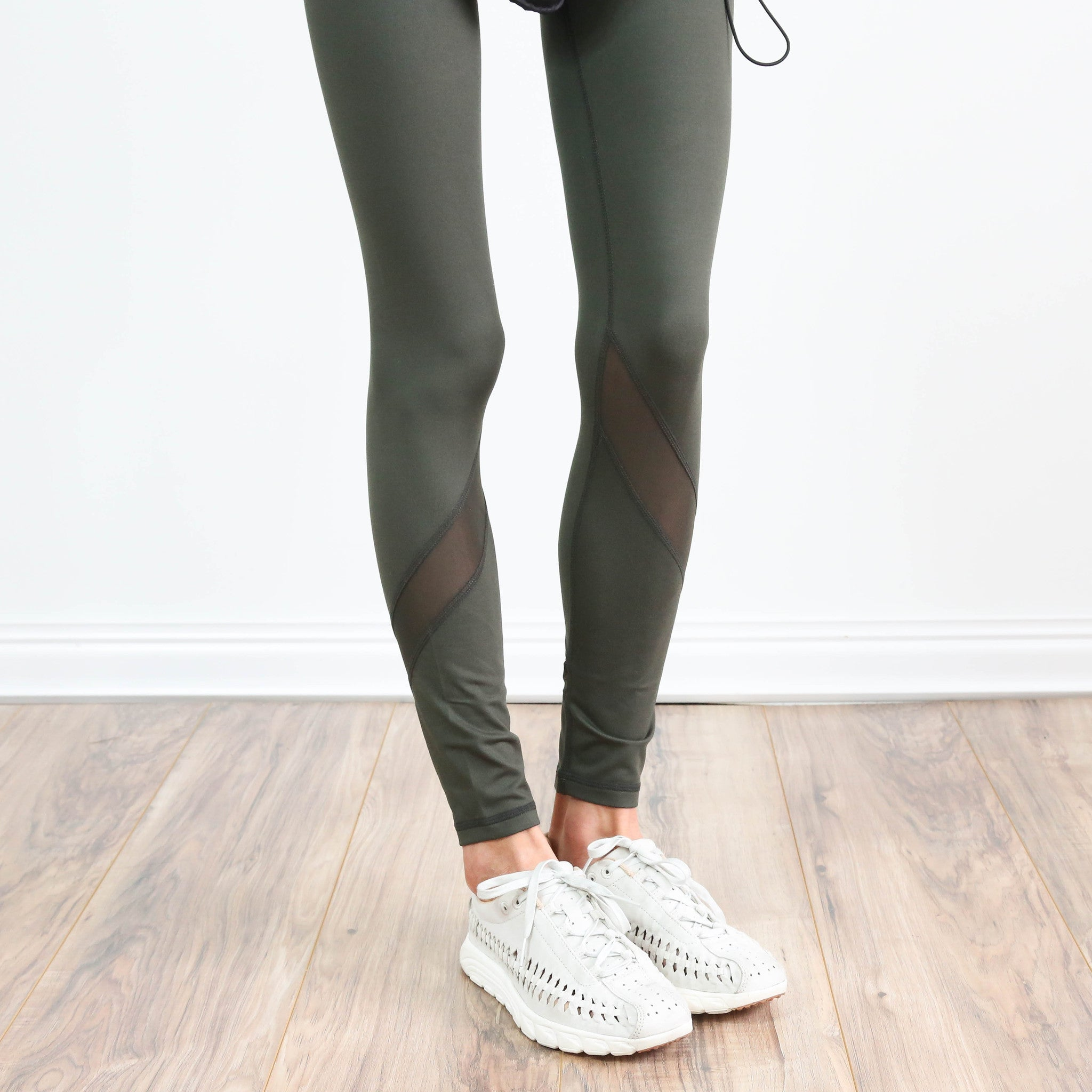 Olive Sheer Bottom Legging
