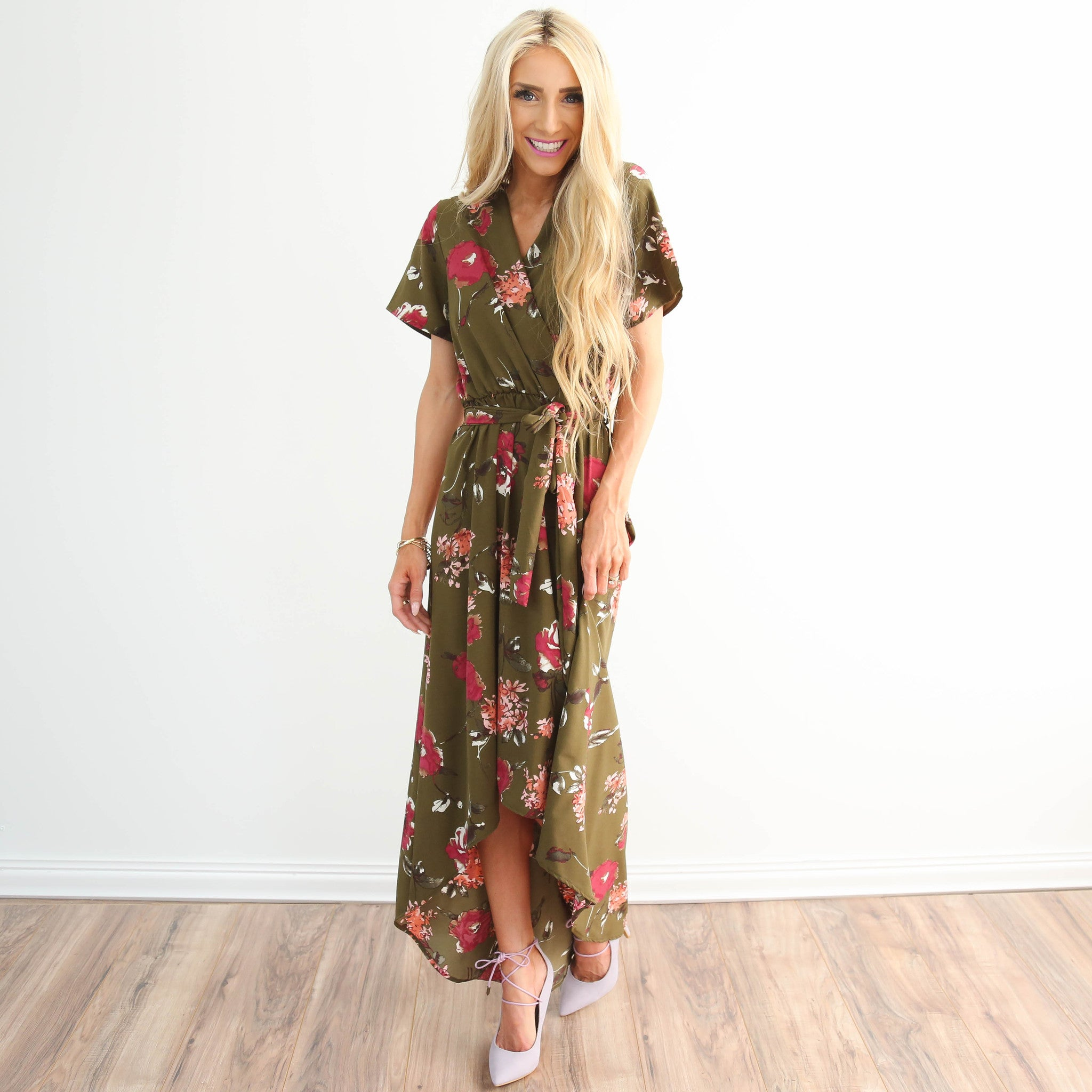Sabora Olive Floral Dress