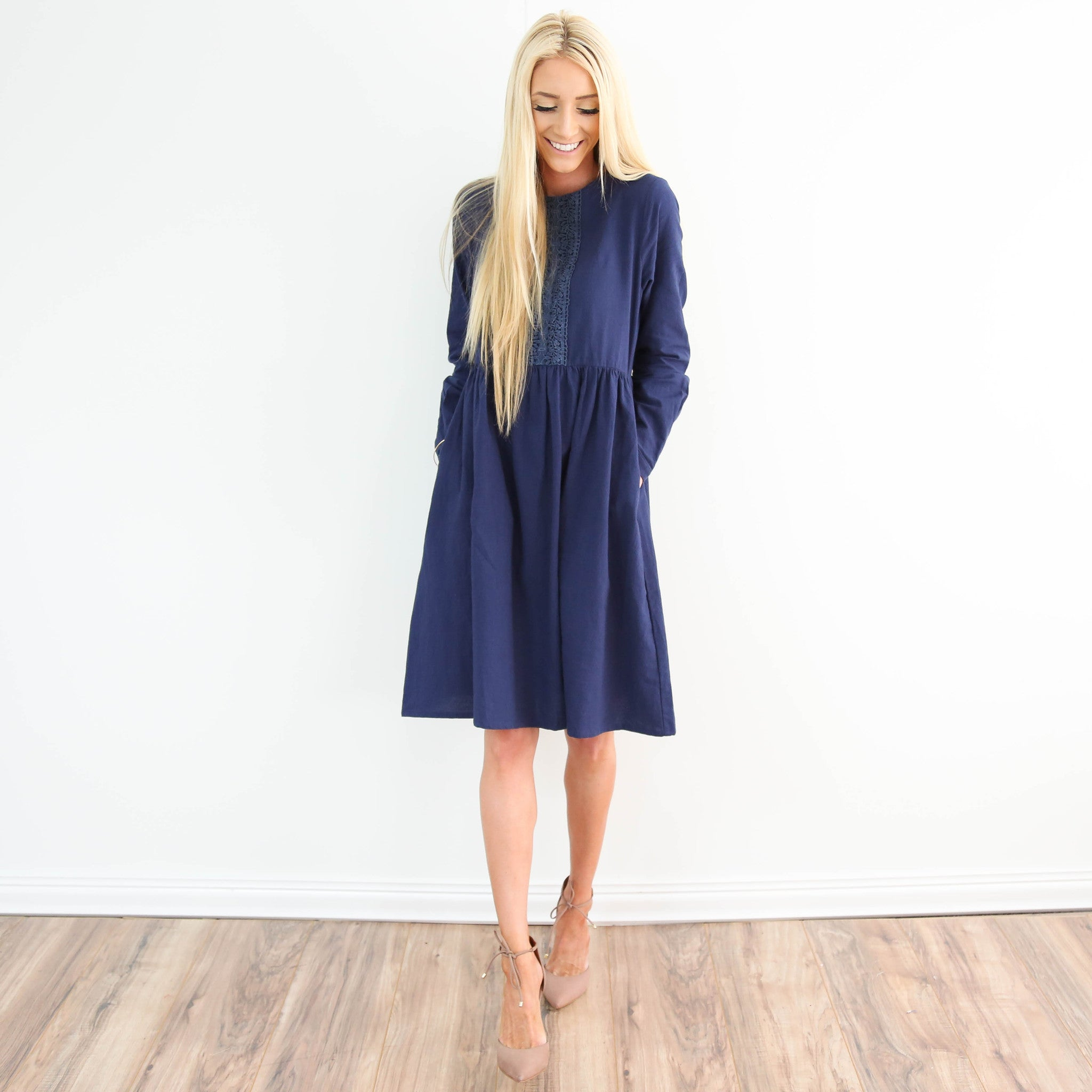 Inara Embroidered Dress in Navy