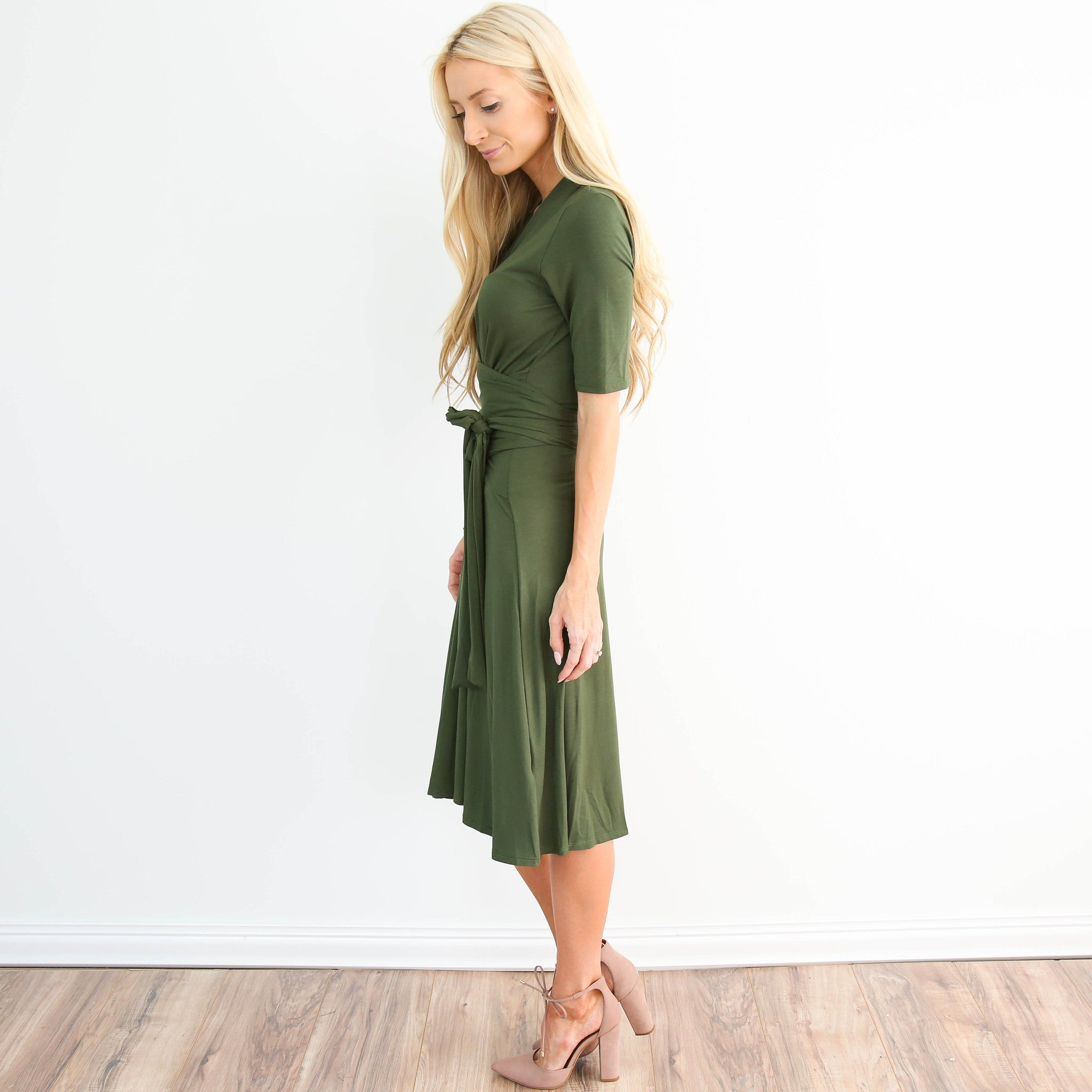 Leena Olive Wrap Dress