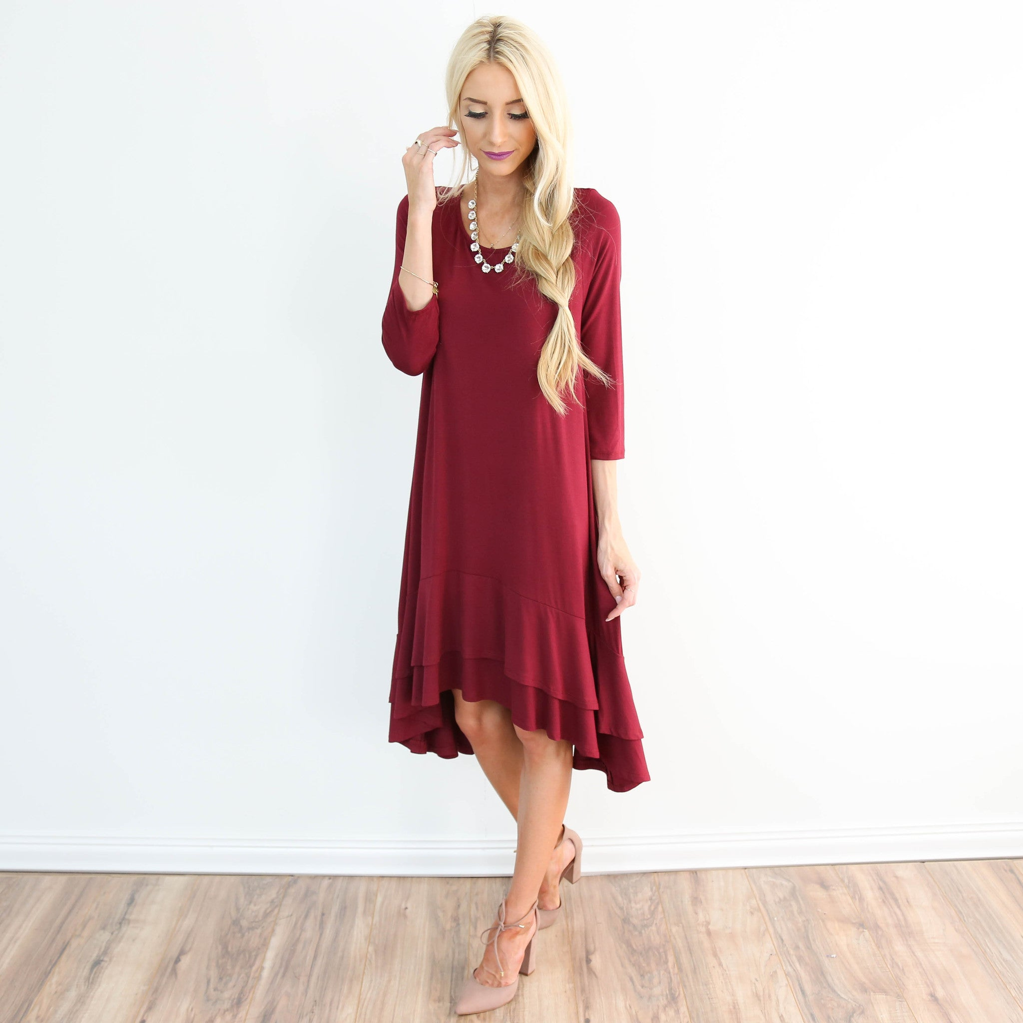 Sandra Ruffle Dress in Wine