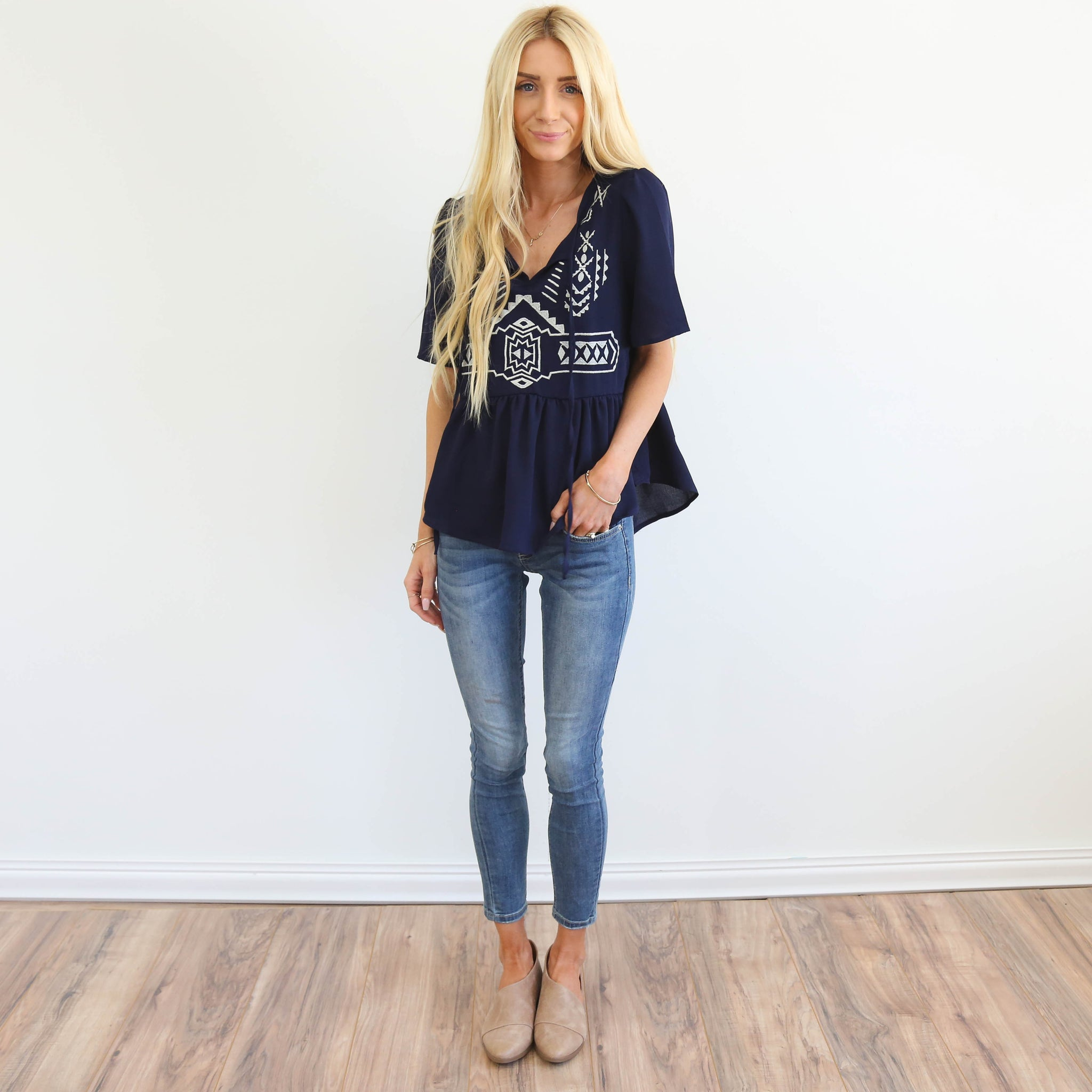 Kami Embroidered Top in Navy