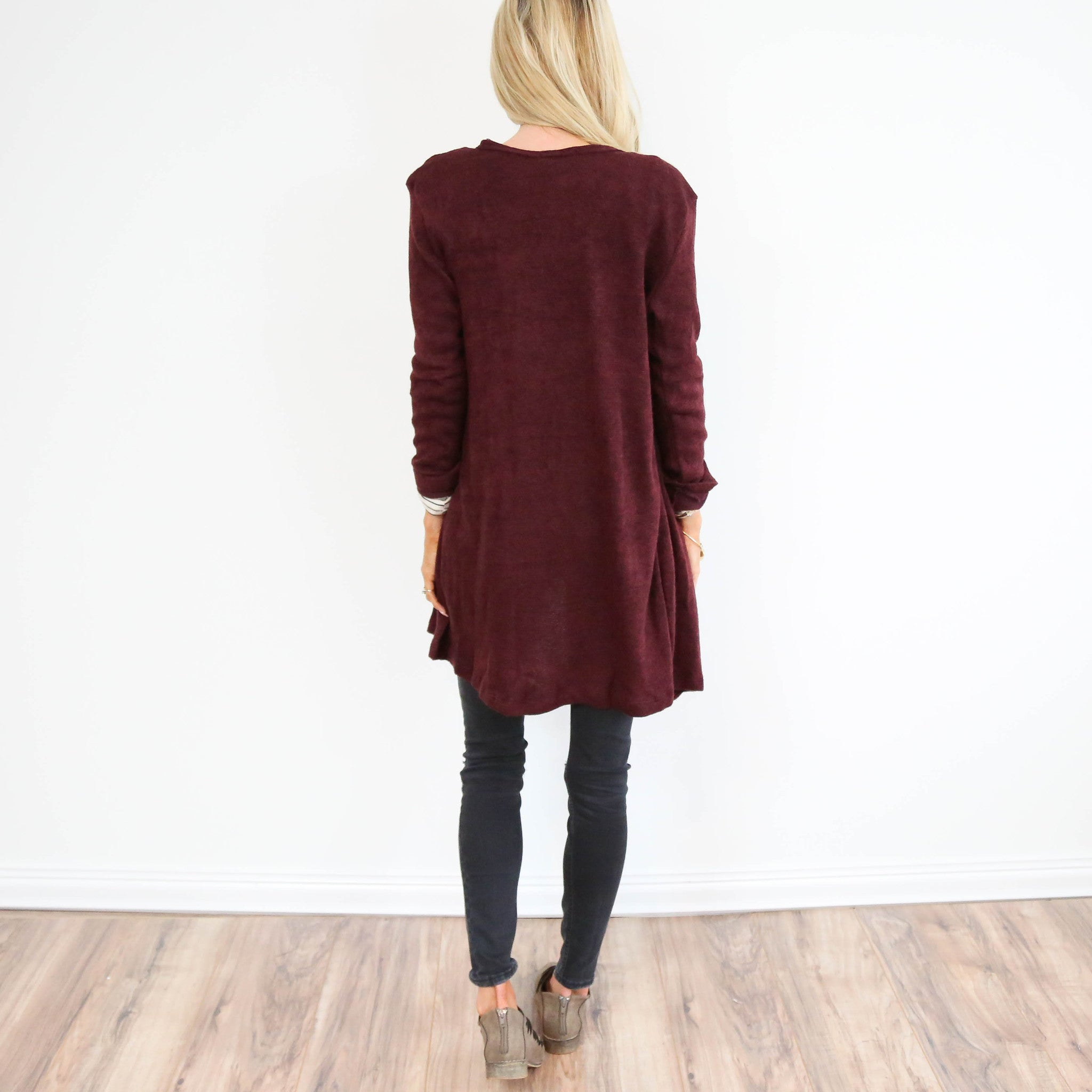 Claire Burgundy Cardigan