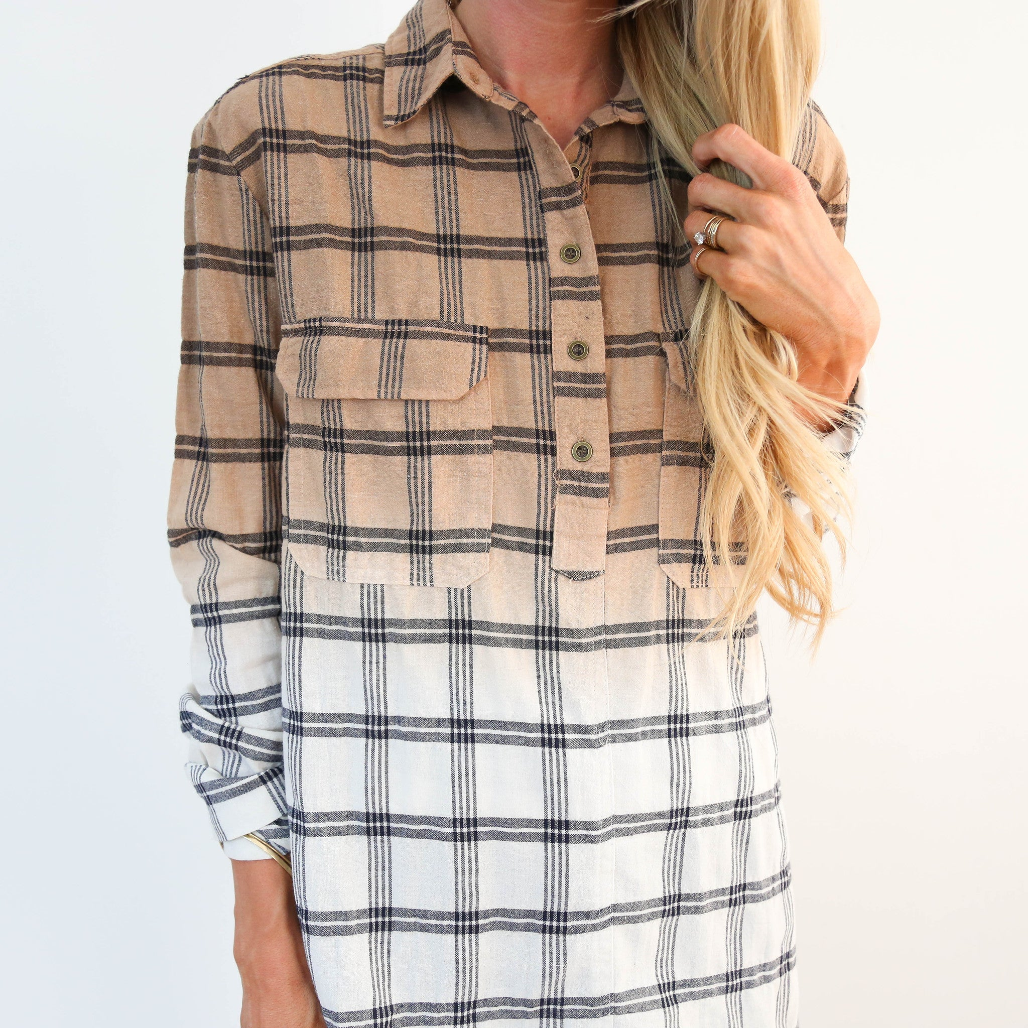 Ombre Plaid Top
