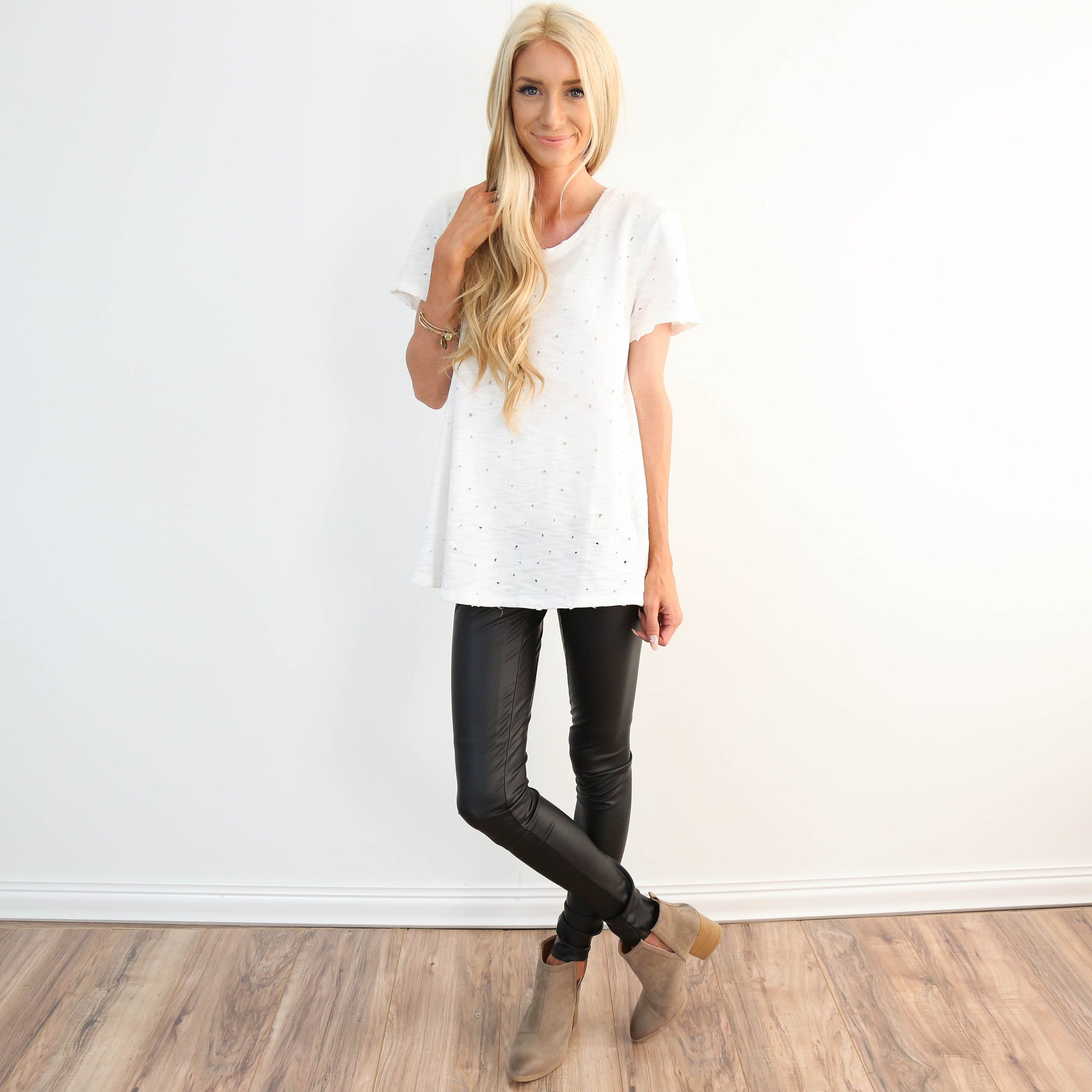 White Destroyed Tee