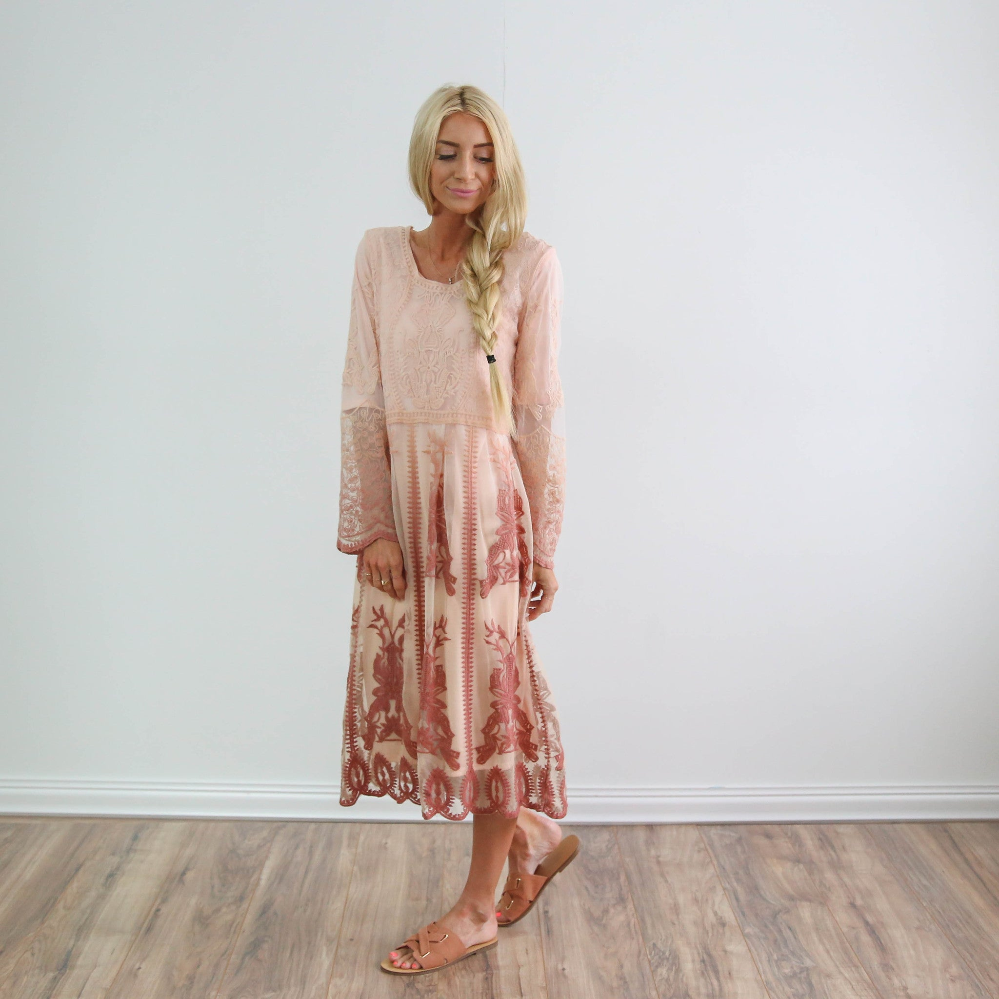 Ombre Pink Lace Dress