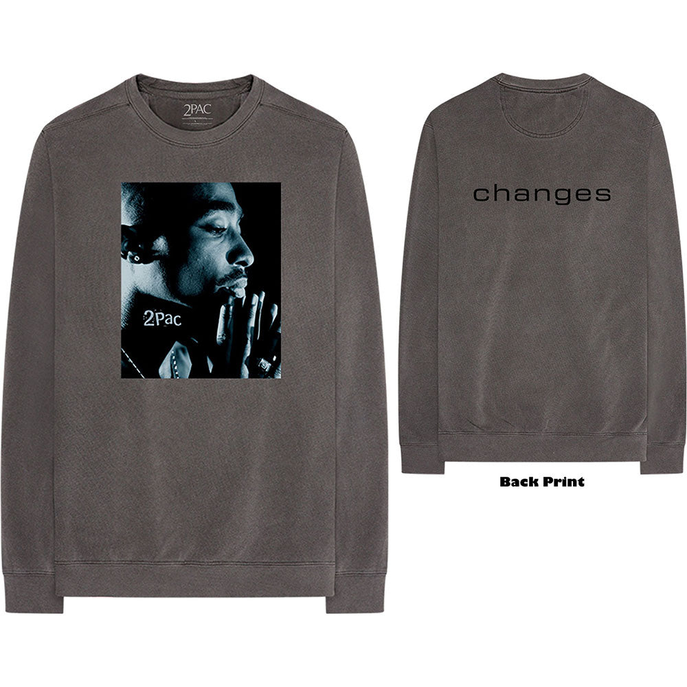 Tupac Unisex Long Sleeved Tee: Changes Side Photo (Back Print) (Charcoal Grey)
