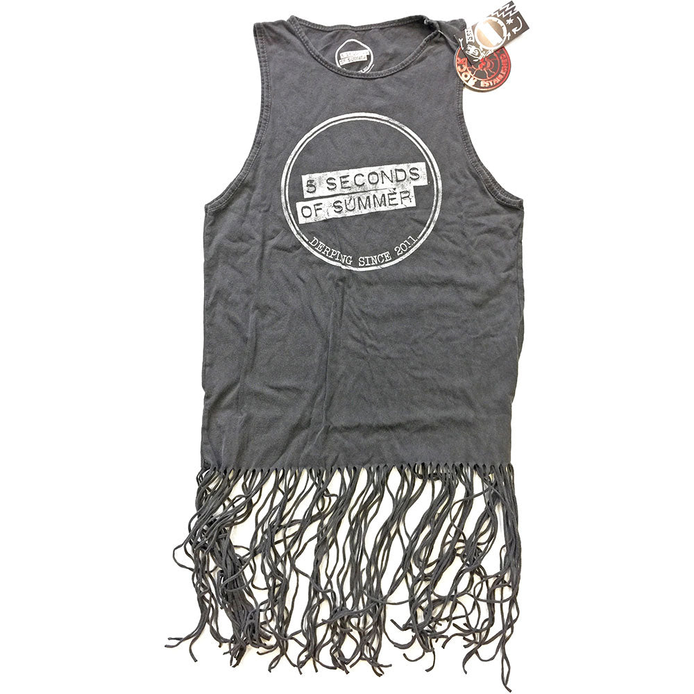5 Seconds of Summer Ladies Tee Dress: Derping Stamp Vintage (Tassels) (Charcoal Grey) - House of Merch