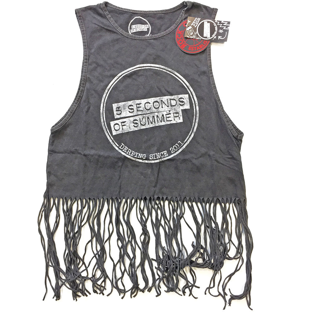 5 Seconds of Summer Ladies Tee Vest: Derping Stamp Vintage (Tassels) (Charcoal Grey) - House of Merch