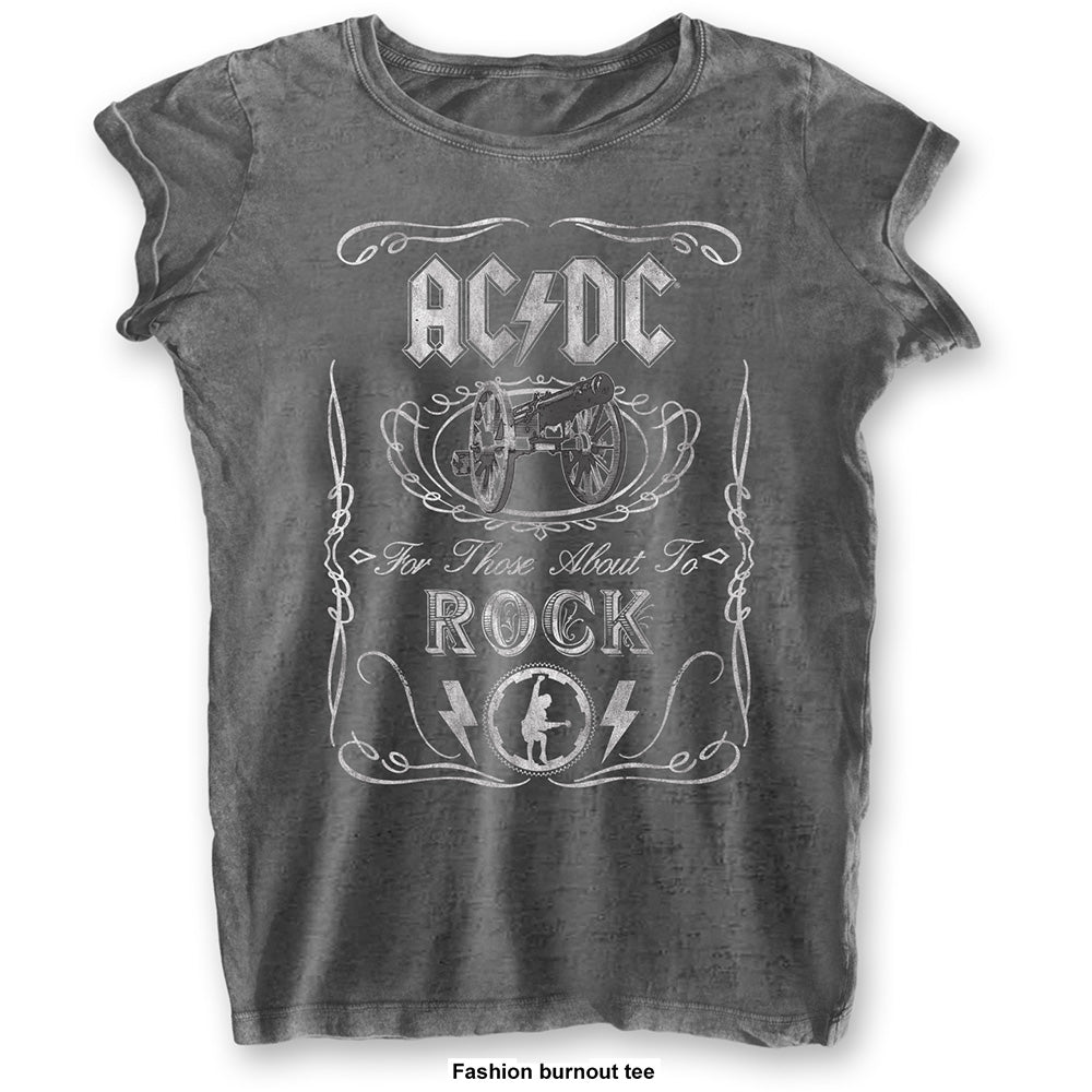 AC/DC Ladies Tee: Cannon Swig (Burn Out) (Charcoal Grey) - House of Merch