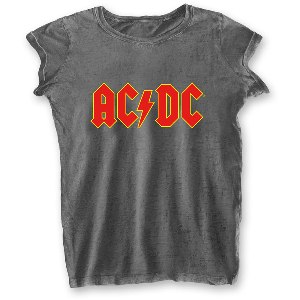 AC/DC Ladies Tee: Logo (Burn Out) (Charcoal Grey) - House of Merch