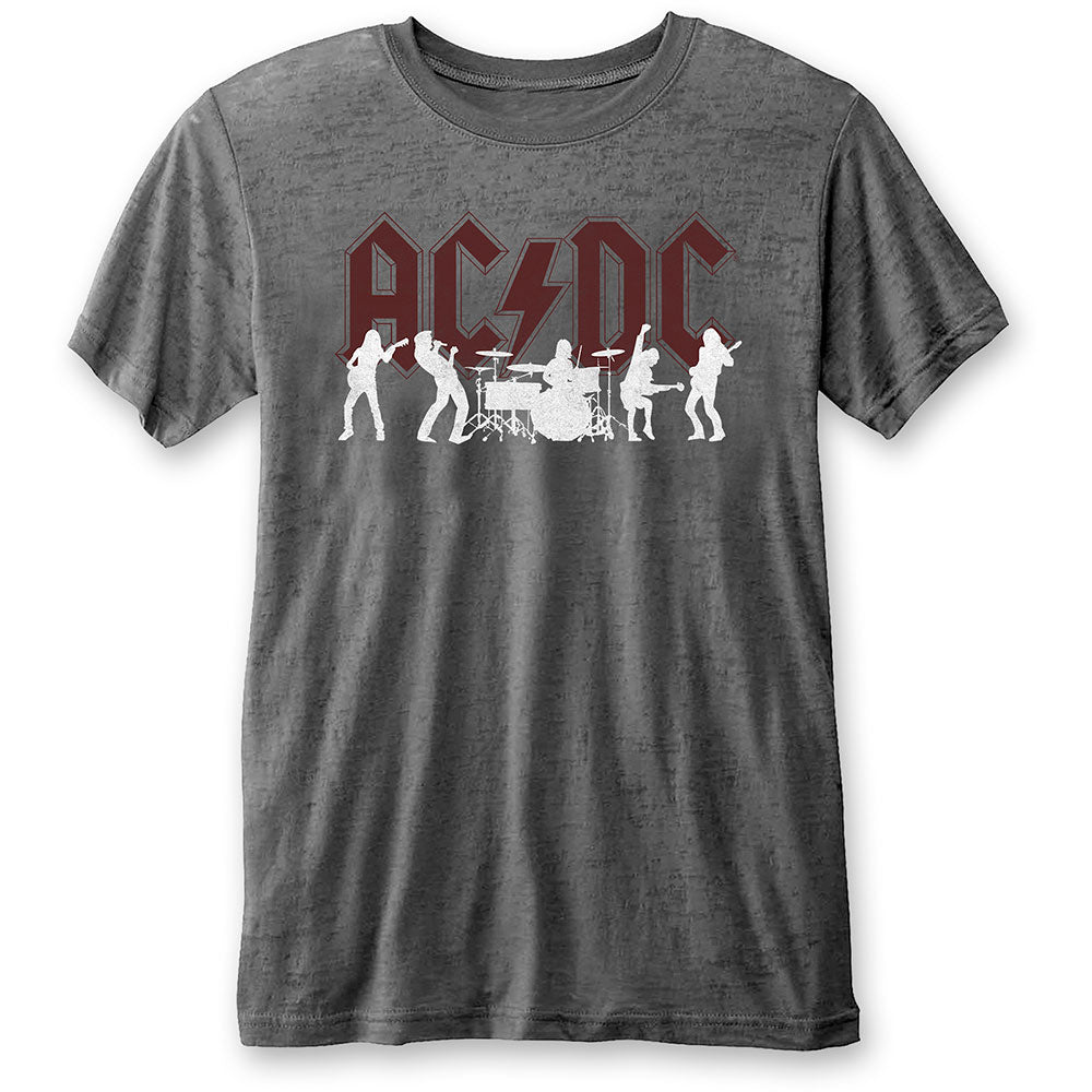 AC/DC Unisex Tee: Silhouettes (Burn Out) (Charcoal Grey) - House of Merch