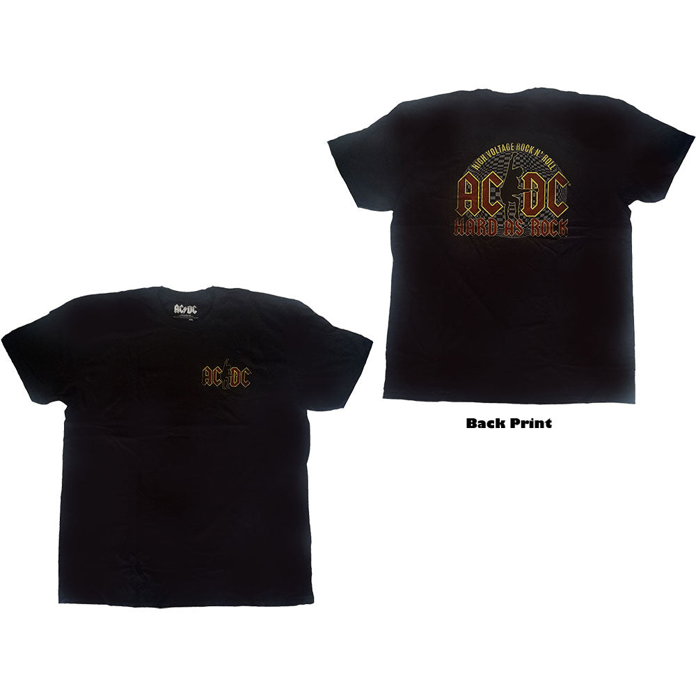 AC/DC Unisex Tee: Hard As Rock (Back Print) (Black) - House of Merch