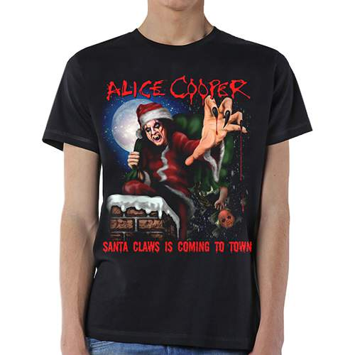 Alice Cooper Unisex Tee: Santa Claws (Black) - House of Merch