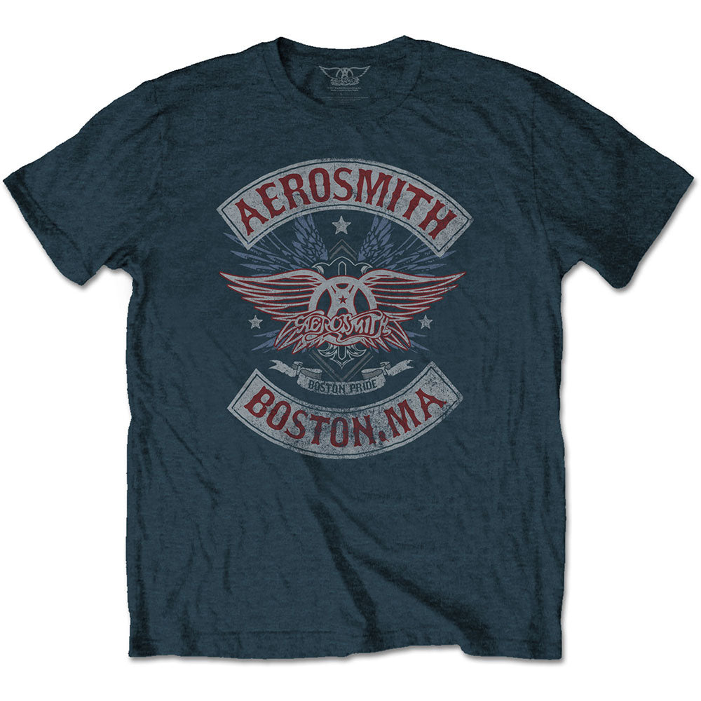 Aerosmith Unisex Tee: Boston Pride (Denim Blue) - House of Merch