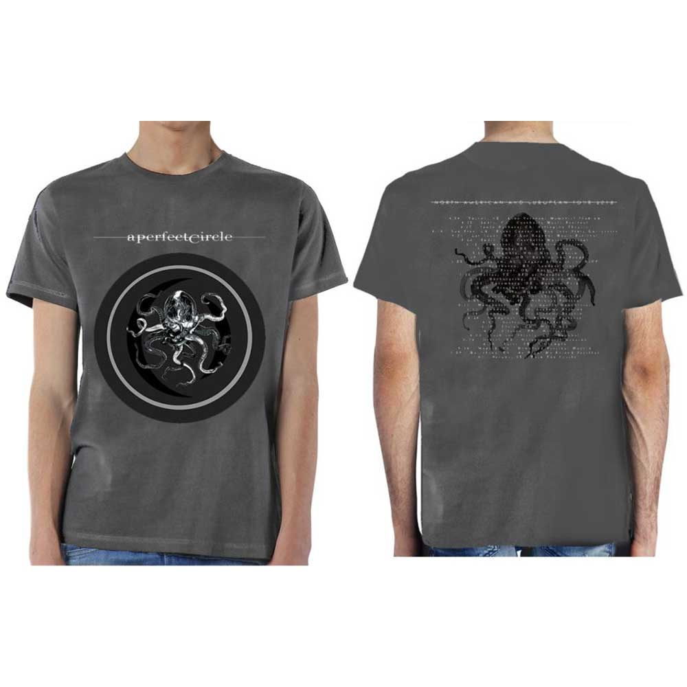 A Perfect Circle Unisex Tee: Octocircle 2018 (Ex Tour/Back Print) (Charcoal Grey) - House of Merch