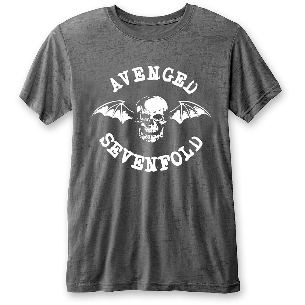 Avenged Sevenfold Unisex Tee: Deathbat (Burn Out) (Charcoal Grey) - House of Merch