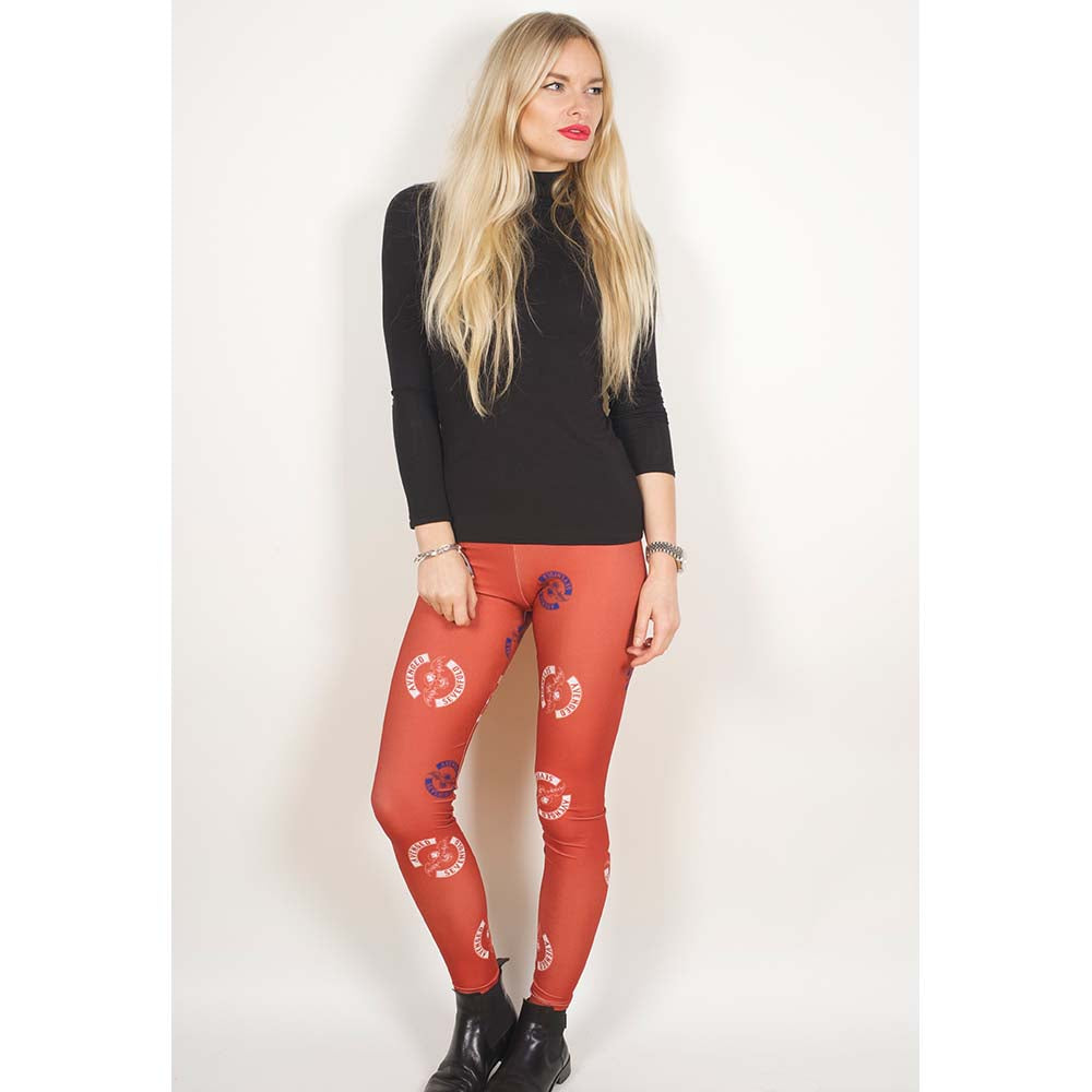 Avenged Sevenfold Ladies Fashion Leggings: Death Bat (Red & White & Blue) - House of Merch