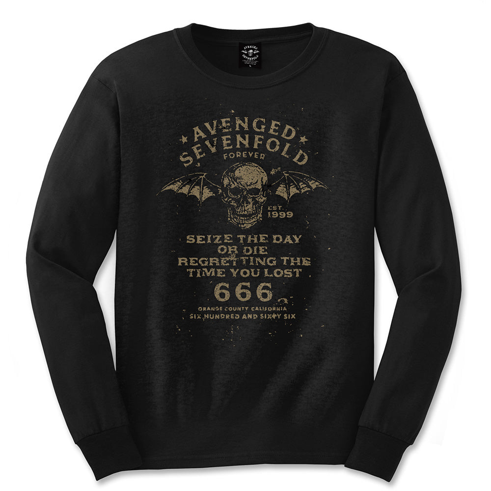 Avenged Sevenfold Unisex Long Sleeved Tee: Seize the Day (Black) - House of Merch