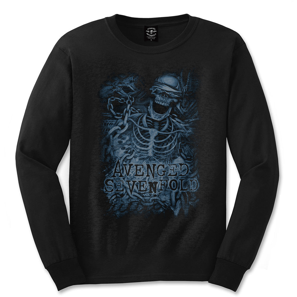 Avenged Sevenfold Unisex Long Sleeved Tee: Chained Skeleton (Black) - House of Merch