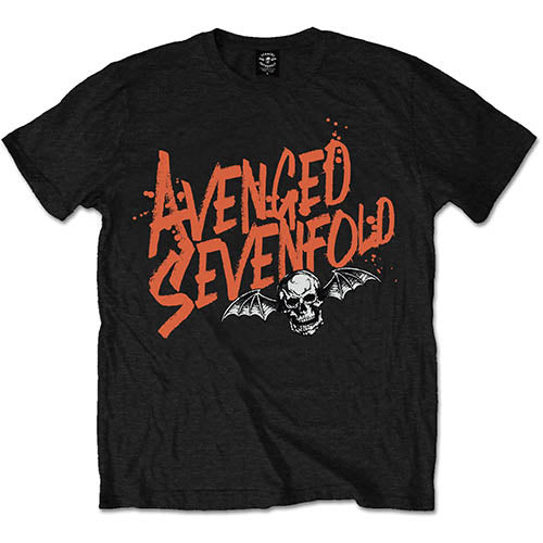 Avenged Sevenfold Unisex Tee: Orange Splatter (Black) - House of Merch
