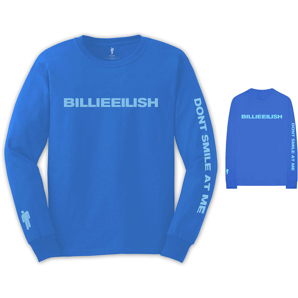 Billie Eilish Unisex Long Sleeved Tee: Smile (Back & Arm Print) (Mid Blue) - House of Merch