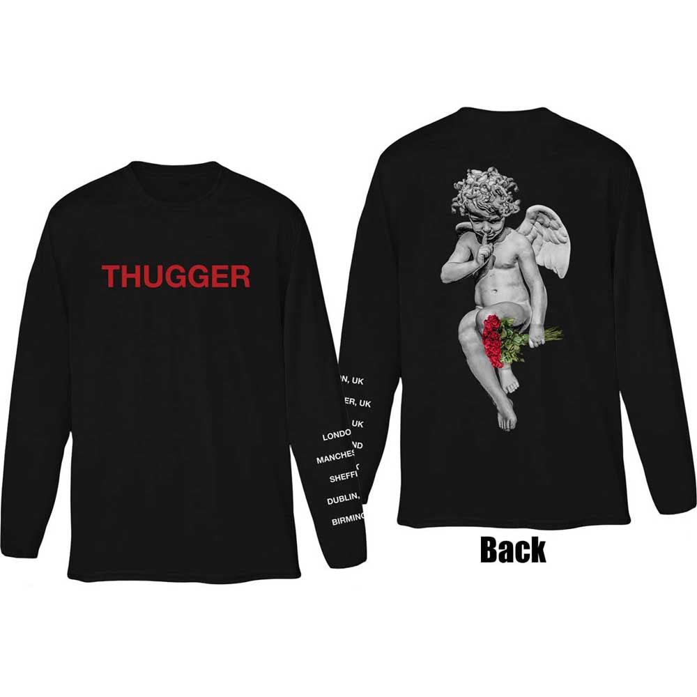 Young Thug Unisex Long Sleeved Tee: Thugger Angel (Back & Sleeve Print) (Black)