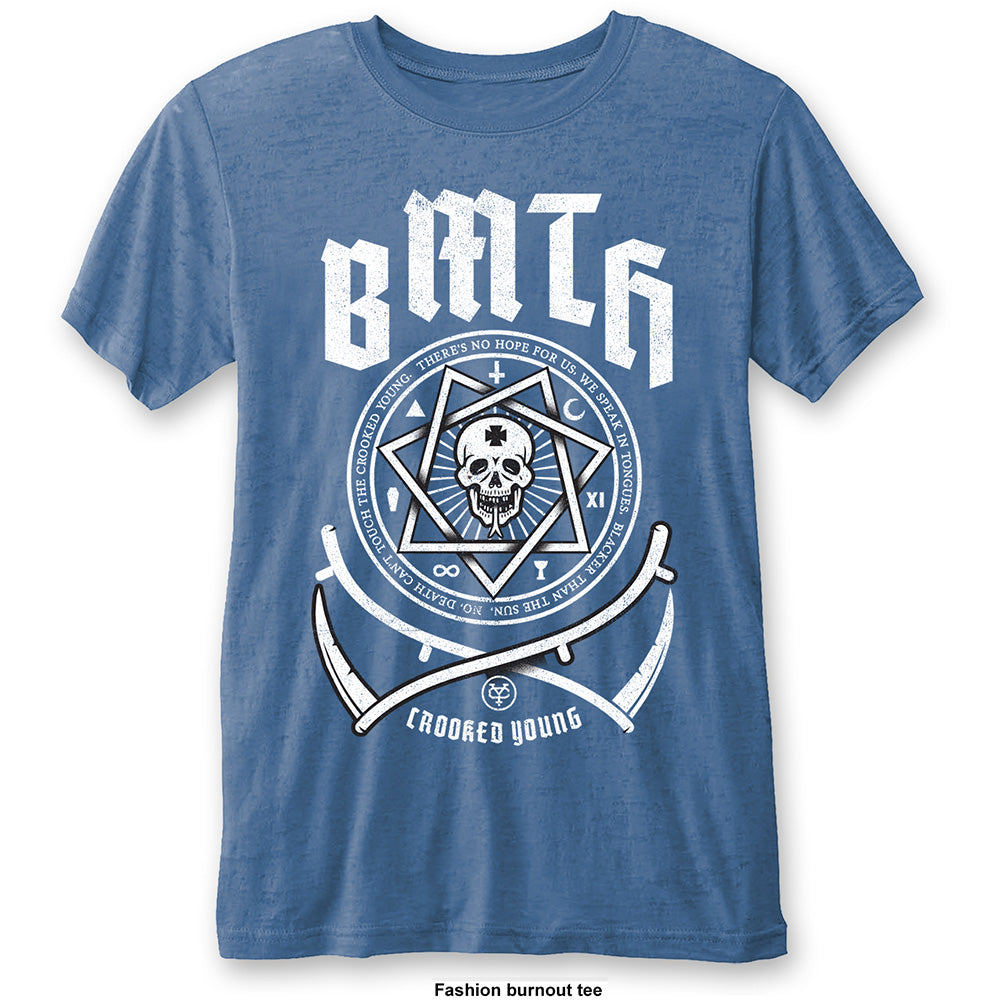 Bring Me The Horizon Unisex Fashion Tee: Crooked Young (Burn Out) (Mid Blue) - House of Merch