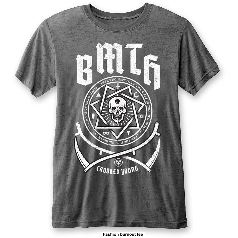 Bring Me The Horizon Unisex Fashion Tee: Crooked Young (Burn Out) (Charcoal Grey) - House of Merch