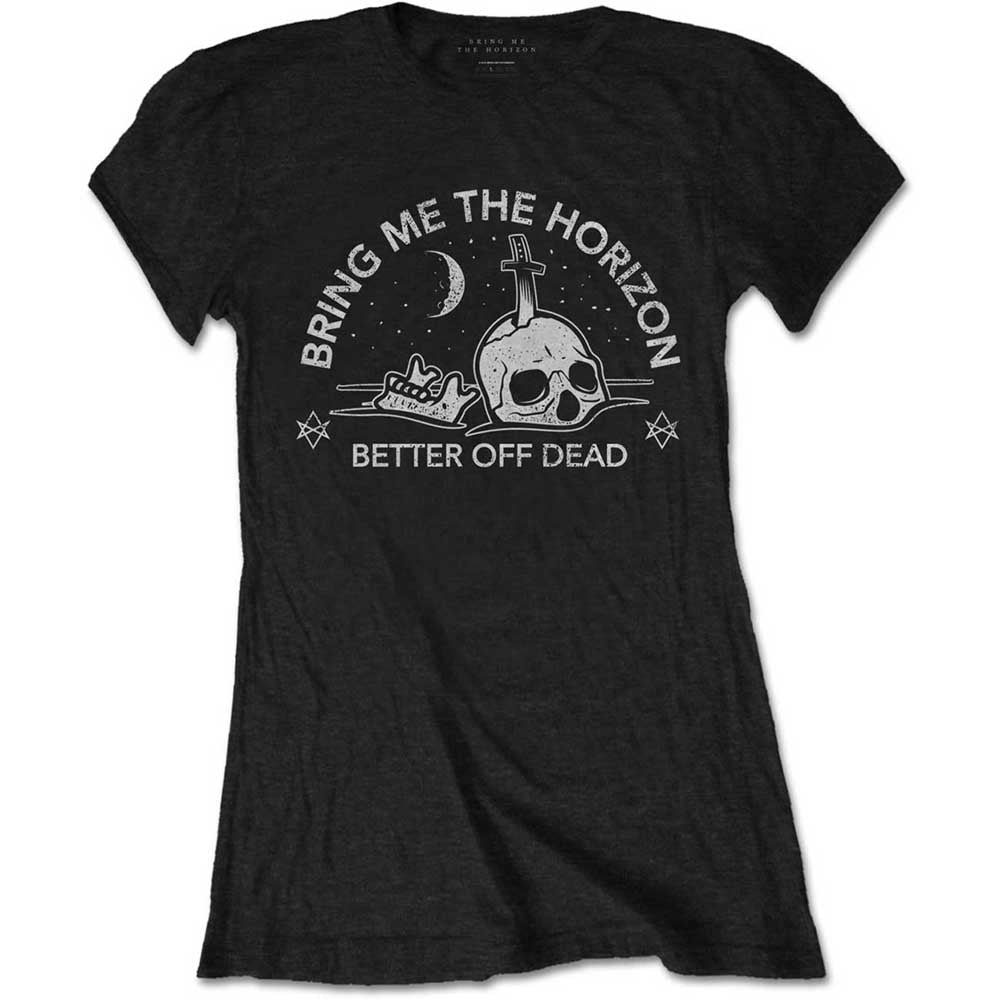 Bring Me The Horizon Ladies Tee: Happy Song (Black) - House of Merch