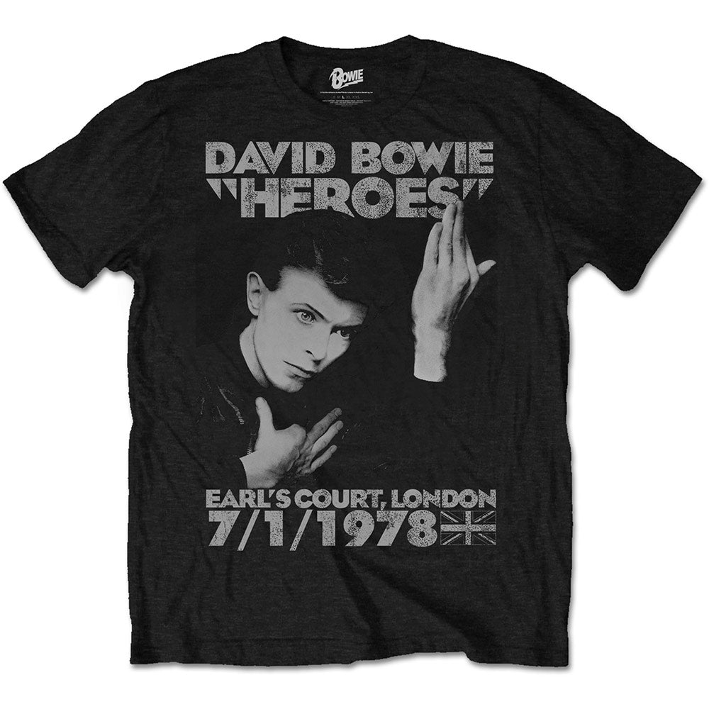 David Bowie Unisex Tee: Heroes Earls Court (Black)