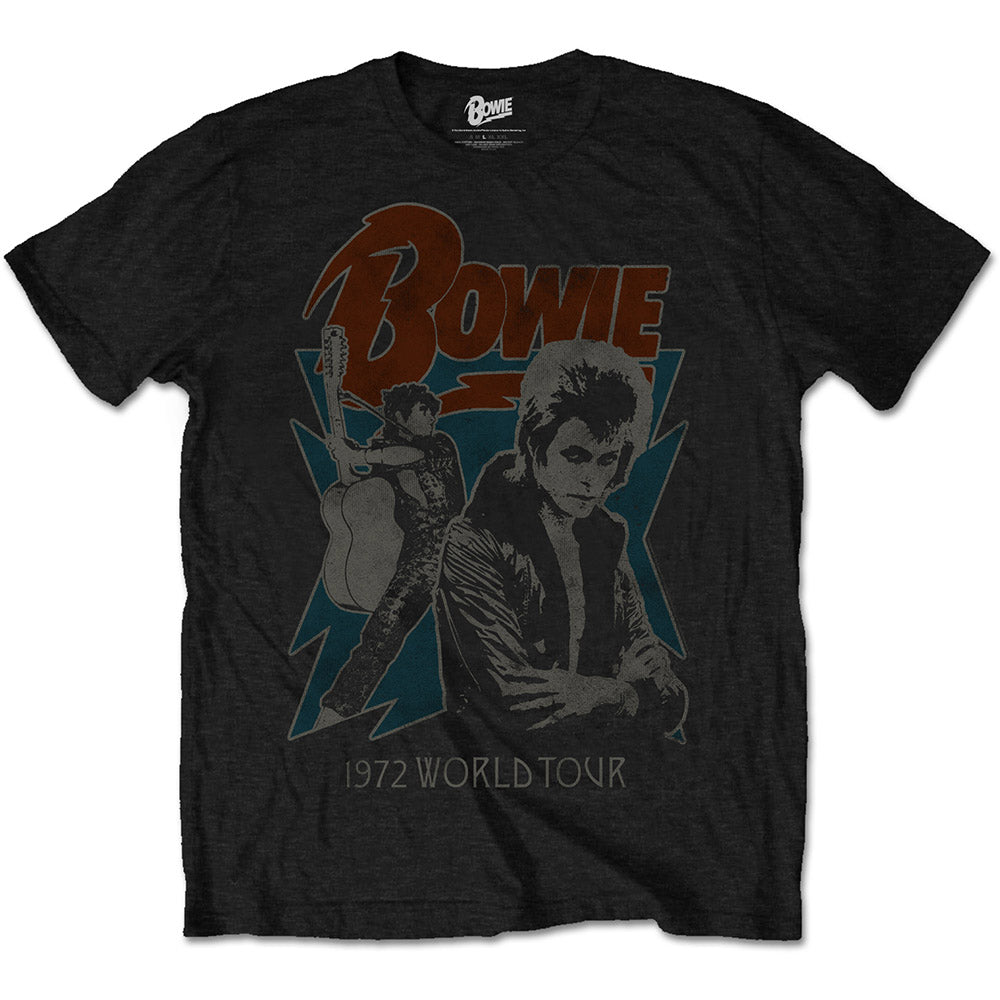 David Bowie Unisex Tee: 1972 World Tour (Black)
