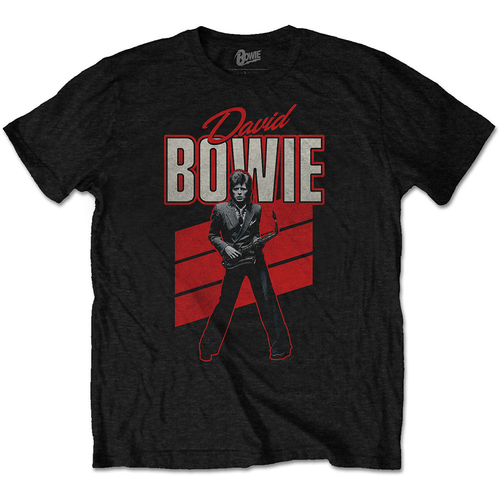 David Bowie Unisex Tee: Red Sax (Black) - House of Merch