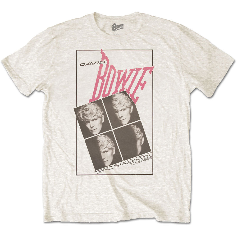 David Bowie Unisex Tee: Serious Moonlight (White) - House of Merch