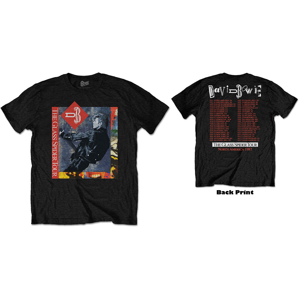 David Bowie Unisex Tee: Glass Spider Tour (Back Print) (Black) - House of Merch