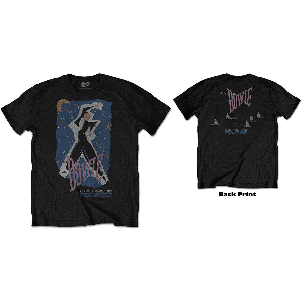 David Bowie Unisex Tee: 83' Tour (Back Print) (Black) - House of Merch